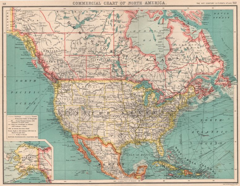Associate Product NORTH AMERICA COMMERCIAL.Steamer routes Telegraph cables Railways Canal 1901 map