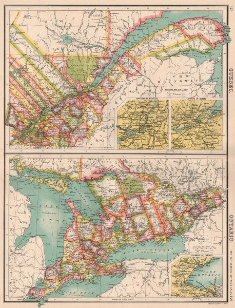 Associate Product QUEBEC QUÉBEC & ONTARIO. Divisions & counties. Inset Montreal Toronto 1901 map