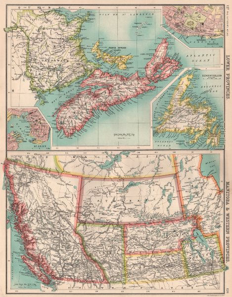 Associate Product CANADA WESTERN & MARITIME PROVINCES. Inset St. John & Halifax 1901 old map