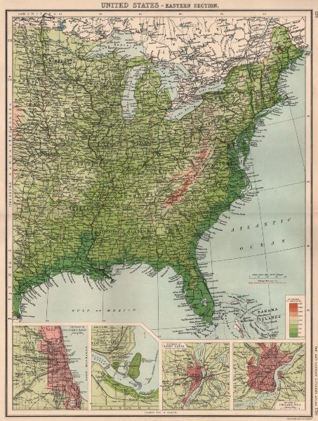 Details About Usa East Relief Inset Chicago Niagara Falls Saint Louis Philadelphia 1901 Map