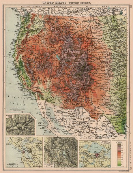 USA WEST. Relief. Inset Yosemite San Francisco Yellowstone New Orleans 1901 map