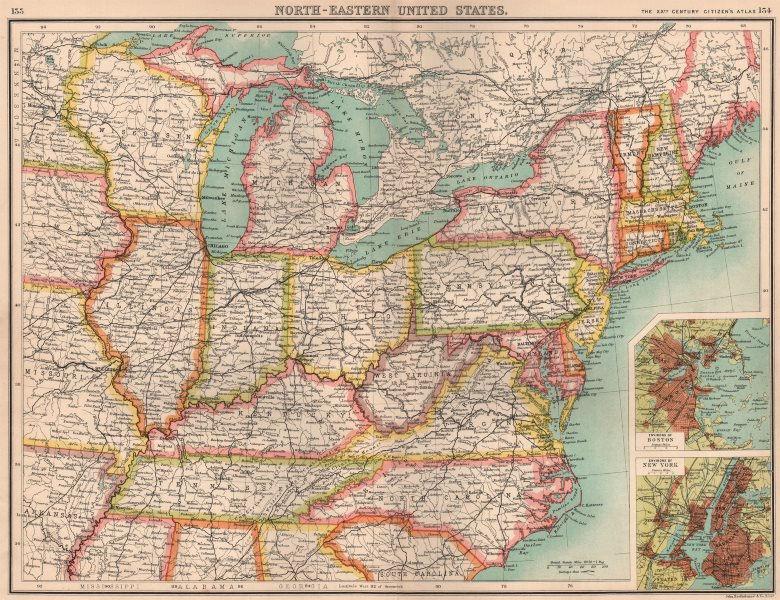 Associate Product USA NORTH-EAST. United States. Inset Boston & New York. BARTHOLOMEW 1901 map