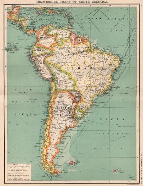 Associate Product SOUTH AMERICA COMMERCIAL.Steamer routes Telegraph cables Railways Canal 1901 map