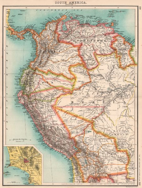 Associate Product SOUTH AMERICA NW. Venezuela Colombia Ecuador Peru Bolivia. Inset Lima 1901 map