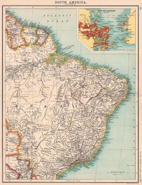 Associate Product BRAZIL & THE GUIANAS.Dutch French British Guiana(Guyana).Rio de Janeiro 1901 map