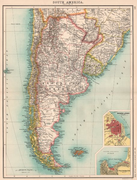 Associate Product S AMERICA. Argentina Chile Uruguay Paraguay. Buenos Aires; Valparaiso 1901 map