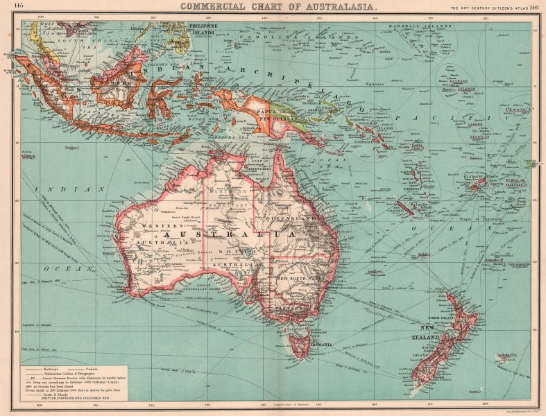 Associate Product AUSTRALASIA COMMERCIAL. Steamer routes Telegraph cables Railways Canals 1901 map