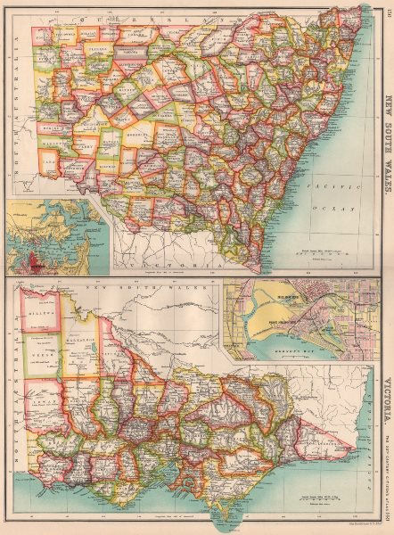 Map Of Australia 1901.Details About New South Wales Victoria Counties Melbourne Sydney Australia 1901 Map