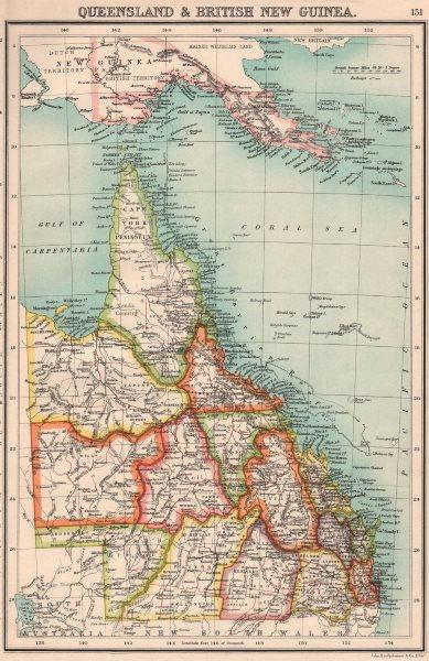 Associate Product QUEENSLAND & BRITISH NEW GUINEA.Counties.Papua.Australia.BARTHOLOMEW 1901 map
