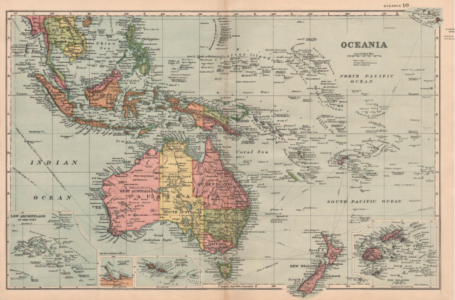 Associate Product OCEANIA.shows Alexandra Land.New Zealand Polynesia Fiji E Indies.BACON 1893 map