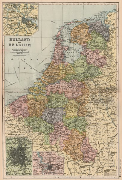 Associate Product BENELUX. Holland and Belgium. Inset Amsterdam Brussels Antwerp. BACON 1893 map