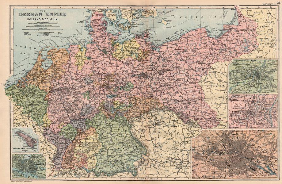 Associate Product GERMANY HOLLAND & BELGIUM. Berlin Heligoland Hamburg Metz Strasbourg 1893 map