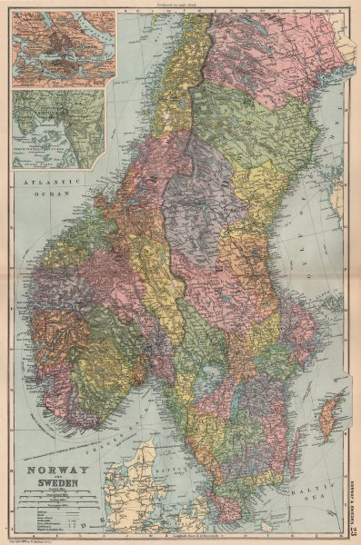 Associate Product SCANDINAVIA.Norway & Sweden;Inset Stockholm & Christiania(Oslo).BACON 1893 map