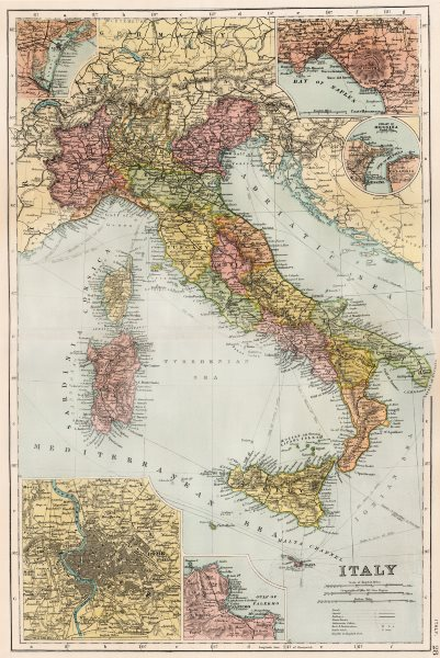 Associate Product ITALY. Shown pre 1915 Treaty of London-excludes Tyrol & Trieste. BACON 1893 map