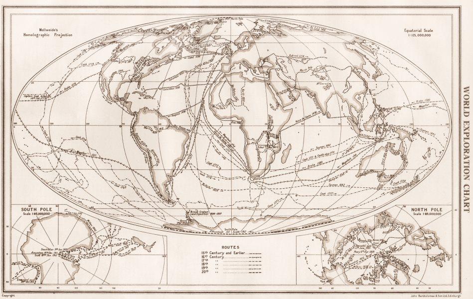 Associate Product WORLD EXPLORATION. Explorers routes dates centuries. BARTHOLOMEW 1952 old map