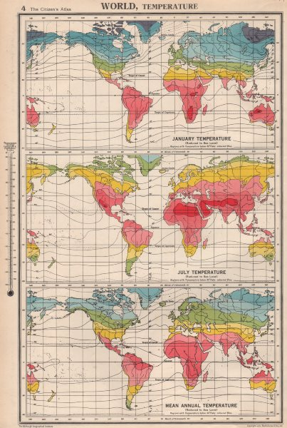 Associate Product WORLD TEMPERATURE. January July Mean annual. BARTHOLOMEW 1952 old vintage map