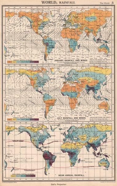Associate Product WORLD RAINFALL & WINDS. January July Mean annual. BARTHOLOMEW 1952 old map