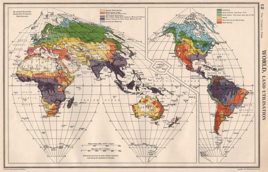 Associate Product WORLD LAND UTILISATION. Farm types. nomadic dairy stock rearing &c 1952 map