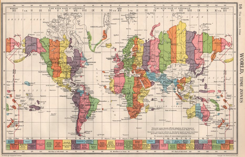 Map Of France Over Time.Details About World Time Zones Uk Ireland Spain France On Same Zone Bartholomew 1952 Map