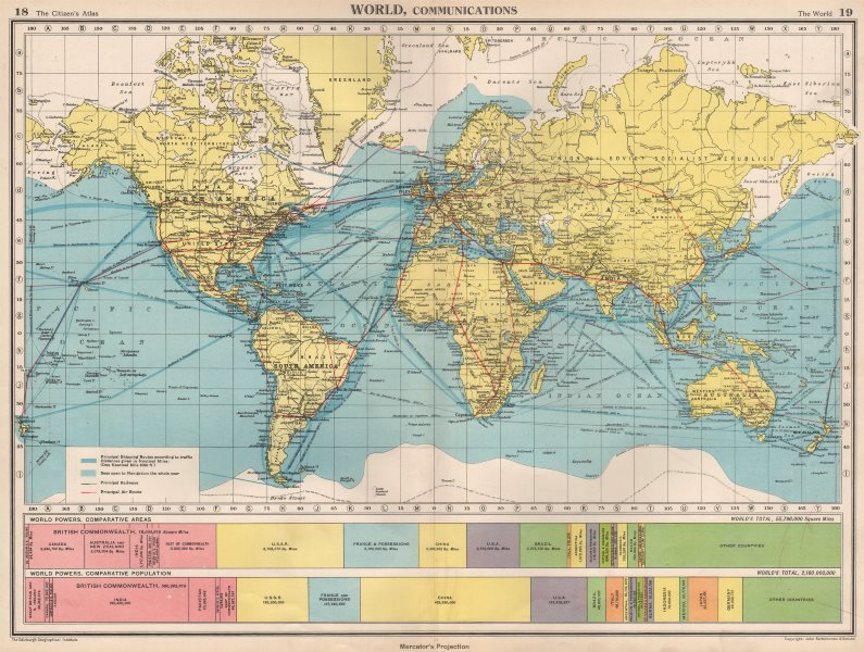 Associate Product WORLD COMMUNICATIONS. air/shipping routes railways. BARTHOLOMEW 1952 old map