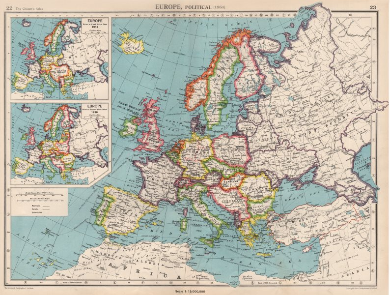 EUROPE in 1951. & inset in 1914 & 1938. Germany divided. BARTHOLOMEW ...