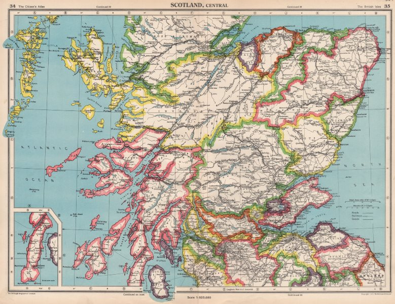 Campbeltown Scotland Map.Central Scotland Showing Counties Bartholomew 1952 Old Vintage Map
