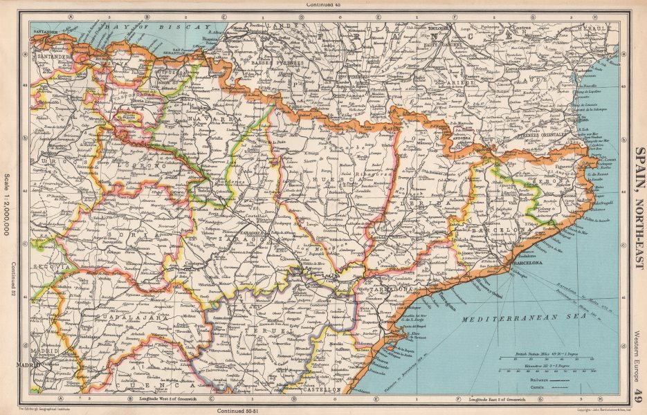 Basque Map Of Spain.Details About Spain North East Catalonia Catalunya Aragon Navarra Basque Country 1952 Map