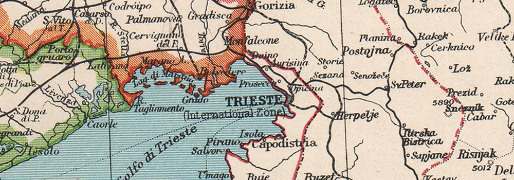 ITALY NORTH Shows independent Free Territory of Trieste pre Osimo