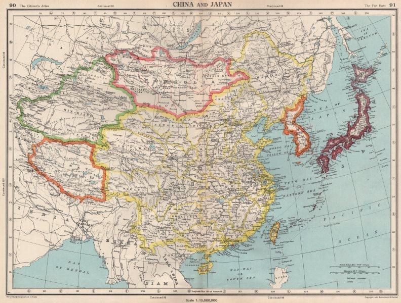 Associate Product EAST ASIA. shows independent Tibet & Sin-Kiang (Xinjiang) . Korea 1952 old map