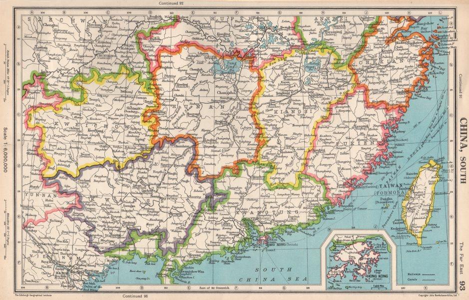 Details About Southern China Fukien Kiangsi Hunan Kwangtung Taiwan Hong Kong 1952 Old Map