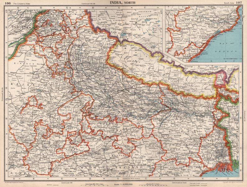 Associate Product INDIA NORTH & NEPAL. Shows independent Sikkim. Bengal Orrissa 1952 old map