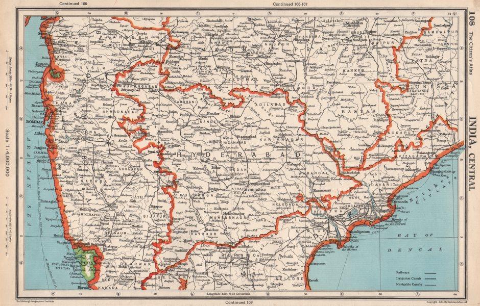 Associate Product INDIA CENTRAL.shows Goa,Dadra & Nagar Haveli as Portuguese.BARTHOLOMEW 1952 map