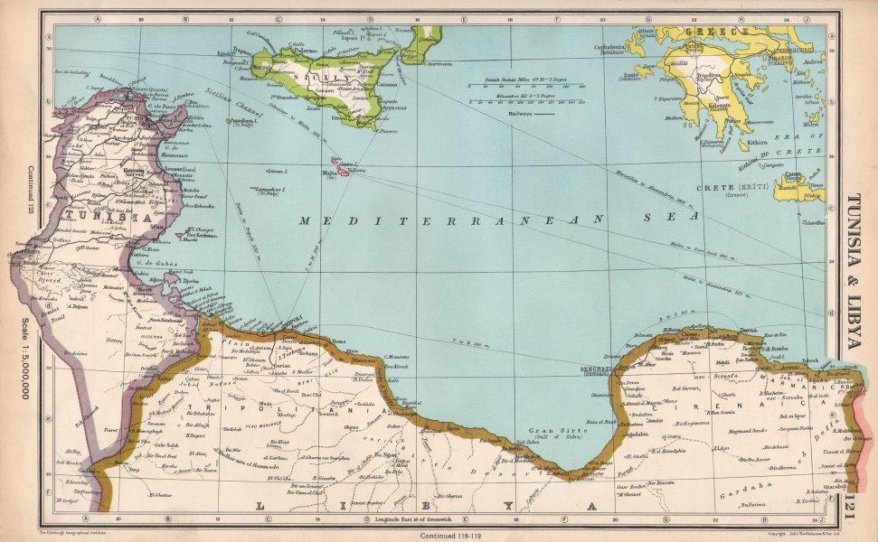 Golfo De Sirte Mapa.Details About Mediterranean Tunisia Libyan Coast Sicily Gulf Of Sirte Bartholomew 1952 Map