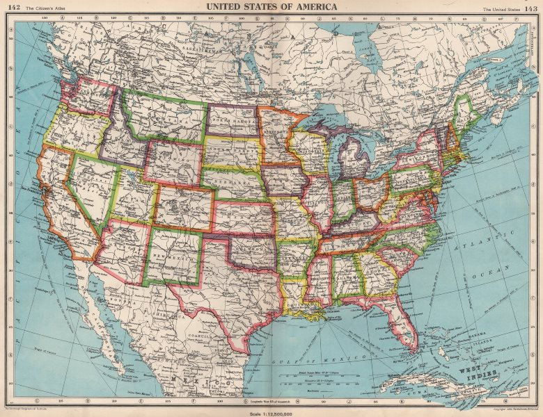 Details about USA. United States of America. State map. BARTHOLOMEW 1952  old vintage