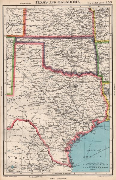 Map Of Texas And Oklahoma.Texas And Oklahoma Usa State Map Bartholomew 1952 Old Vintage Plan