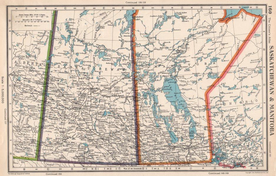 Associate Product SASKATCHEWAN & MANITOBA. provinces. Canada. Railways. BARTHOLOMEW 1952 old map