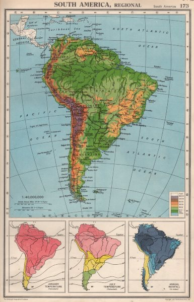 Associate Product SOUTH AMERICA. Physical Temperature & Rainfall. BARTHOLOMEW 1952 old map