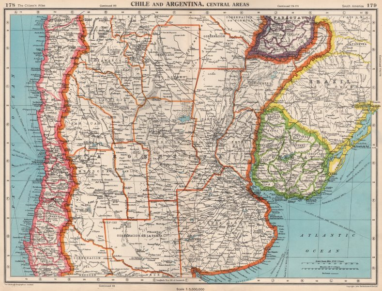 Associate Product CENTRAL CHILE AND ARGENTINA. Showing provinces. Uruguay. BARTHOLOMEW 1952 map