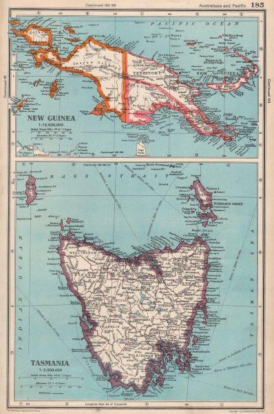 Associate Product AUSTRALASIA. New Guinea; Tasmania showing counties. BARTHOLOMEW 1952 old map