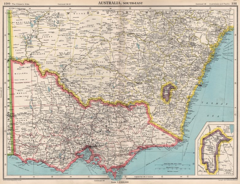 title of map australia south east inset map of canberra