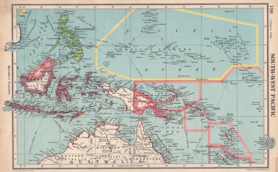 Associate Product SOUTH-WEST PACIFIC. Melanesia Micronesia Indonesia Philippines 1952 old map