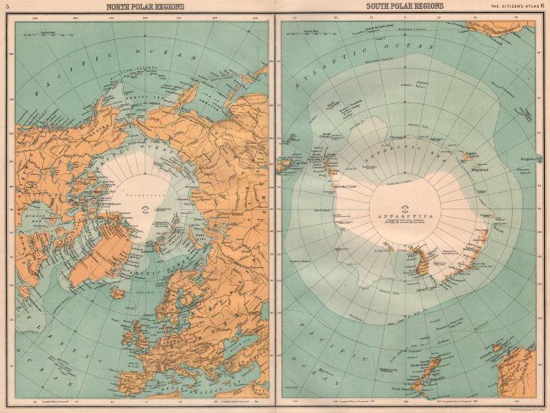 Associate Product ARCTIC & ANTARCTIC.North & South Pole.Explorers positions.BARTHOLOMEW 1898 map