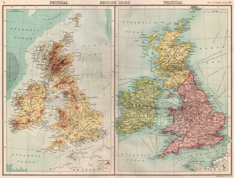 British Isles Physical Political England Ireland Scotland