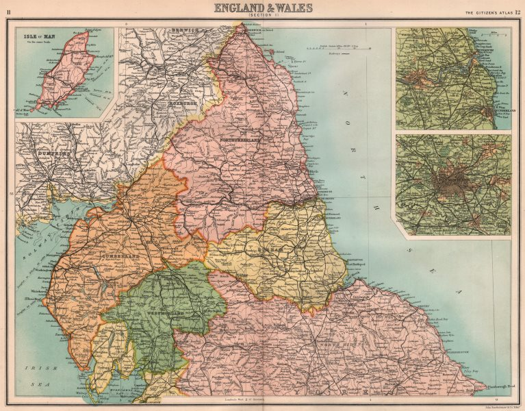 Associate Product NORTHERN ENGLAND. Cumbs Westm Northumbs Durham Manchester. BARTHOLOMEW 1898 map