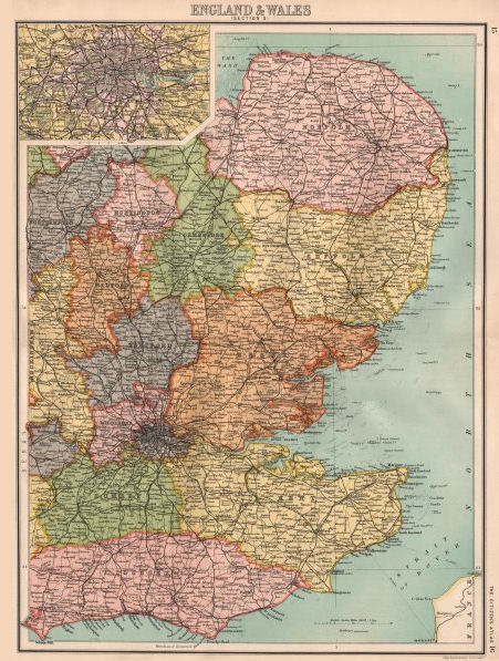 Associate Product EASTERN ENGLAND. East Anglia Home Counties East Midlands London 1898 old map