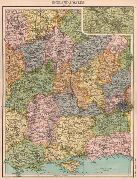 Associate Product SOUTHERN & CENTRAL ENGLAND. South Coast Home Counties. Inset Birmingham 1898 map