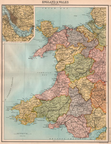 Associate Product WALES. Showing counties. Inset Liverpool/Mersey. BARTHOLOMEW 1898 old map