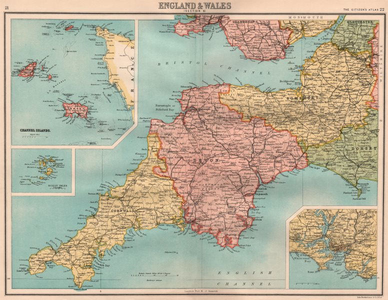 Associate Product SOUTH WEST ENGLAND. Devon Cornwall Somerset. Channel Islands Plymouth 1898 map