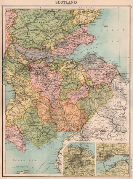 Details about SCOTLAND SOUTH & CENTRAL  Inset Edinburgh & Dundee   BARTHOLOMEW 1898 old map
