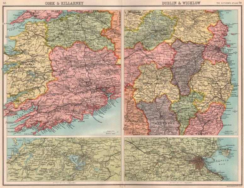 Associate Product IRELAND SW & EAST. Cork & Killarney; Dublin & Wicklow. BARTHOLOMEW 1898 map